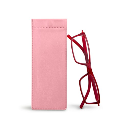 Thin eyeglasses case - Pink - Smooth Leather