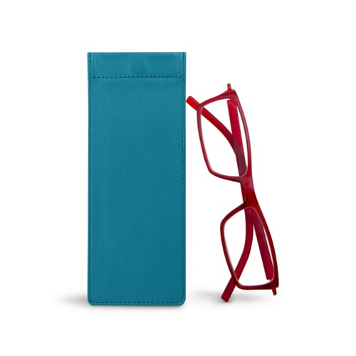 Thin eyeglasses case - Turquoise - Smooth Leather