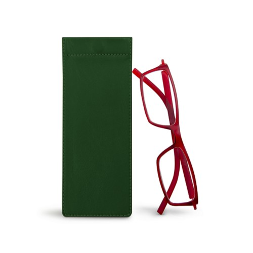Thin eyeglasses case - Dark Green - Smooth Leather