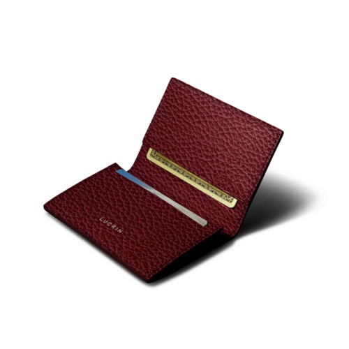 Simple Credit Card Case - Burgundy - Granulated Leather