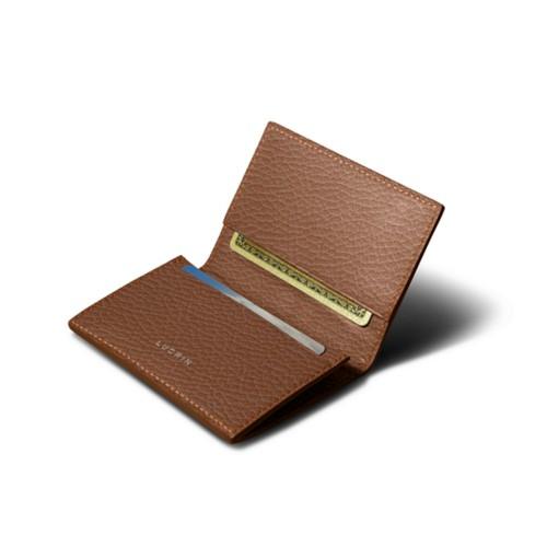 Porte-carte de visite - Cognac - Cuir Grainé