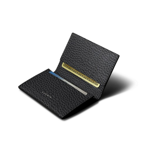 Simple Credit Card Case - Black - Granulated Leather