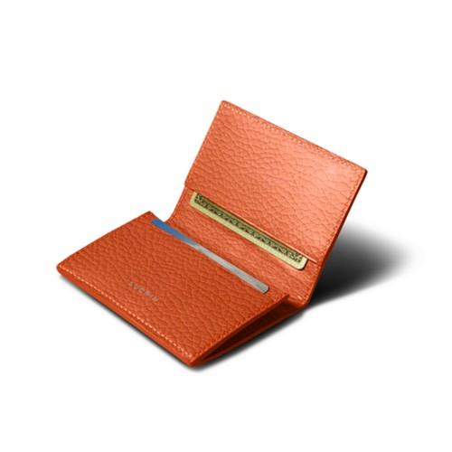 Porte-carte de visite - Orange - Cuir Grainé