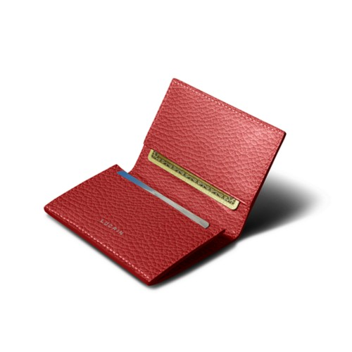 Simple Credit Card Case - Red - Granulated Leather