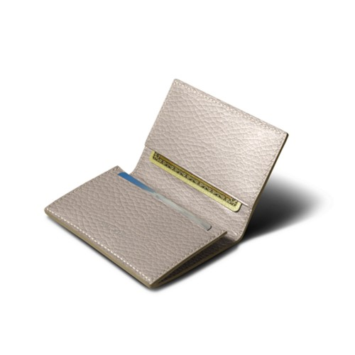 Simple Credit Card Case - Light Taupe - Granulated Leather
