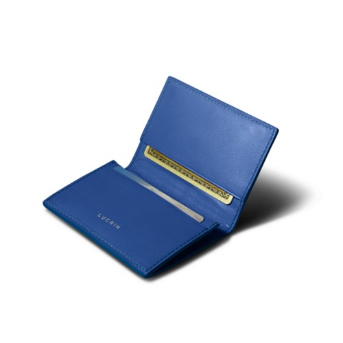 Porte-carte de visite - Bleu Roi - Cuir Lisse