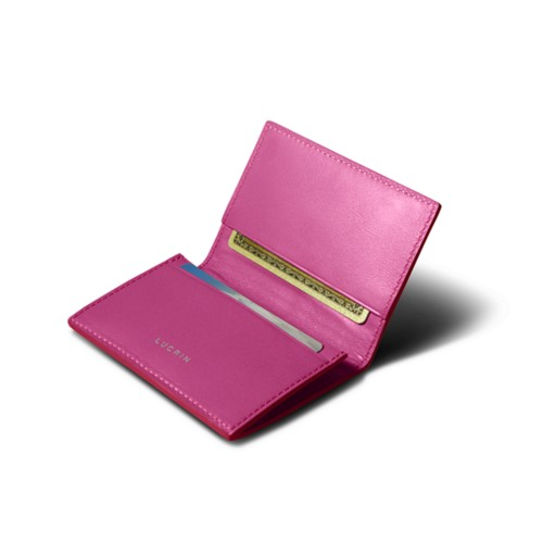 Simple Credit Card Case - Fuchsia  - Smooth Leather
