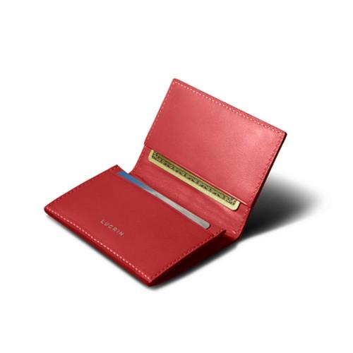Porte-carte de visite - Rouge - Cuir Lisse