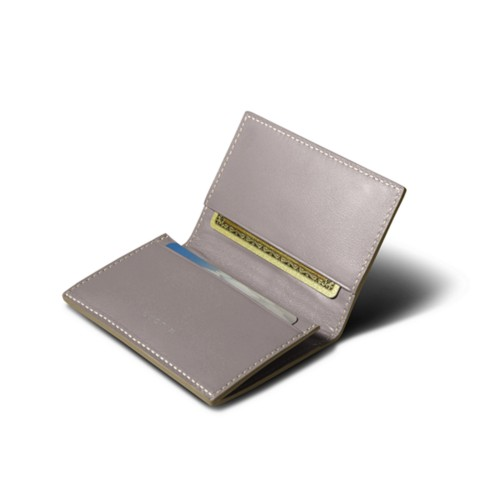 Porte-carte de visite - Taupe Clair - Cuir Lisse