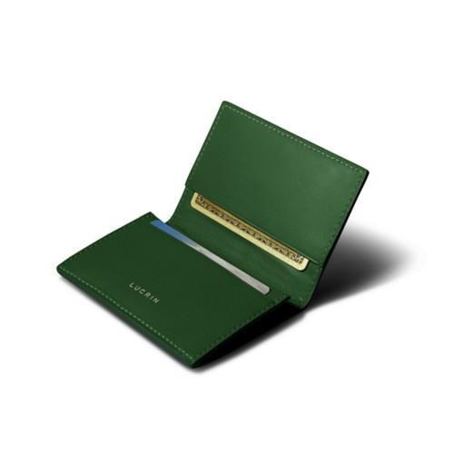 Porte-carte de visite - Vert - Cuir Lisse