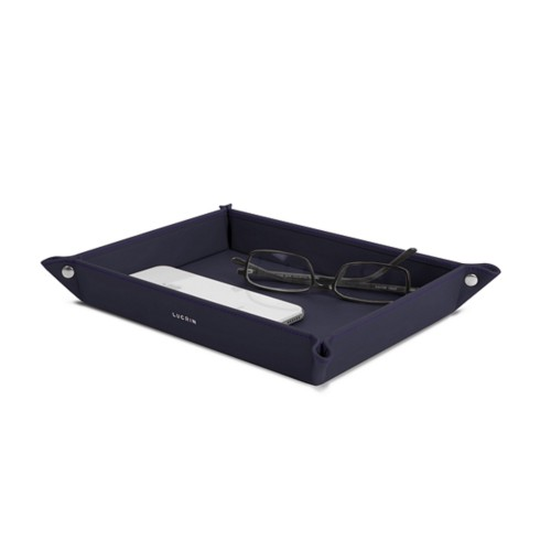 Large rectangular tidy tray (8.3 x 5.9 x 1.4 inches) - Purple - Smooth Leather