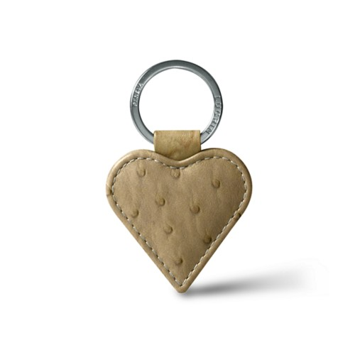 Heart-Shape Key Ring - Beige - Real Ostrich Leather