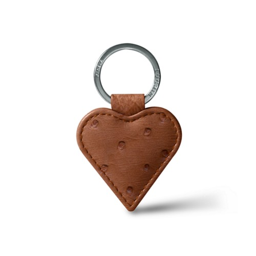 Heart-Shaped key ring - Tan - Real Ostrich Leather