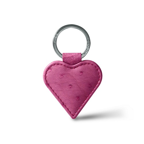 Heart-Shaped key ring - Fuchsia  - Real Ostrich Leather