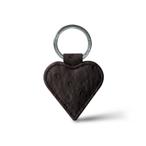 Heart-Shaped key ring - Dark Brown - Real Ostrich Leather