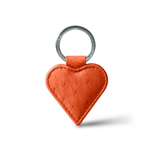 Heart-Shaped key ring - Orange - Real Ostrich Leather
