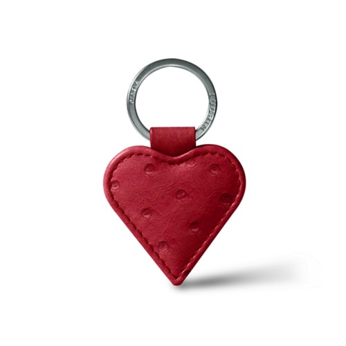 Heart-Shaped key ring - Red - Real Ostrich Leather