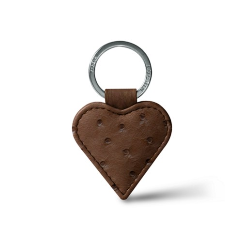 Heart-Shaped key ring - Tobacco - Real Ostrich Leather