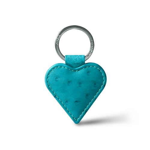 Heart-Shape Key Ring - Turquoise - Real Ostrich Leather