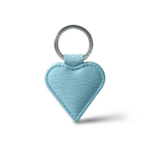 Heart-Shape Key Ring - Sky Blue - Goat Leather