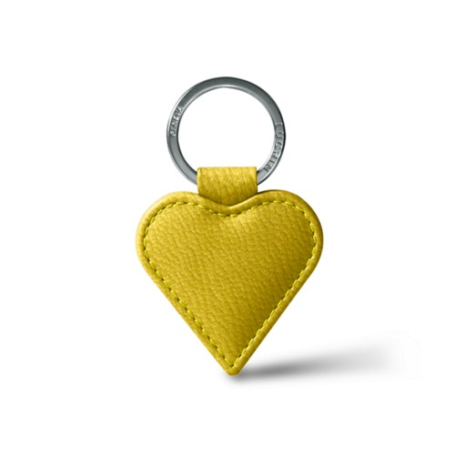 Heart-Shaped key ring - Lemon Yellow - Goat Leather