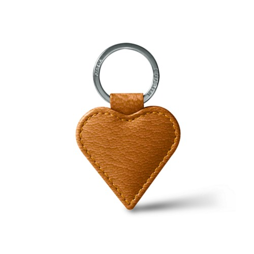 Heart-Shape Key Ring - Saffron - Goat Leather