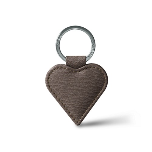 Heart-Shaped key ring - Dark Taupe - Goat Leather