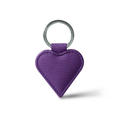 Heart-Shaped key ring - Purple - Goat Leather