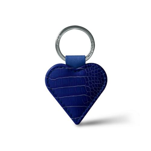 Porte-clEs cœur - Bleu Roi - Veau Façon Crocodile