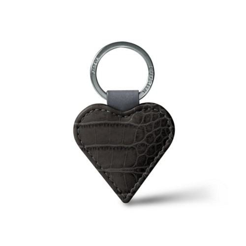 Heart-Shaped key ring - Mouse-Grey - Crocodile style calfskin