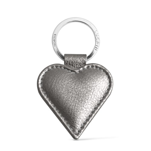 Heart-Shaped key ring - Silver - Metallic Leather