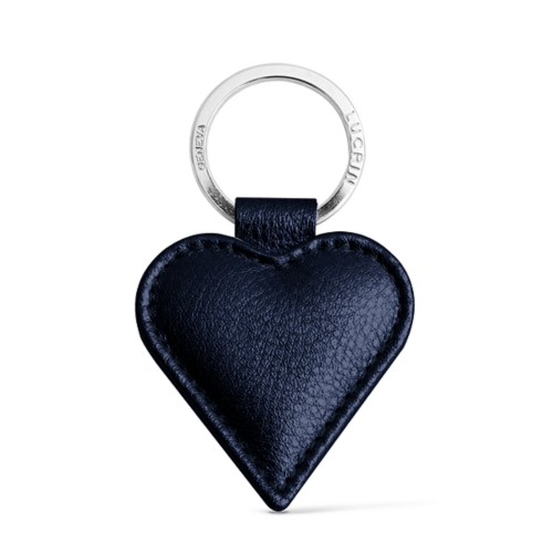 Heart-Shaped key ring - Navy Blue - Metallic Leather