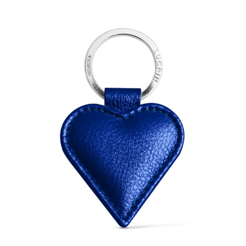 Heart-Shaped key ring - Royal Blue - Metallic Leather