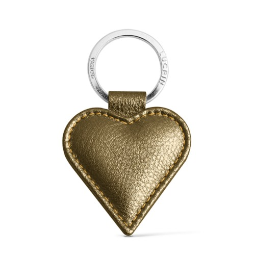 Heart-Shaped key ring - Golden - Metallic Leather