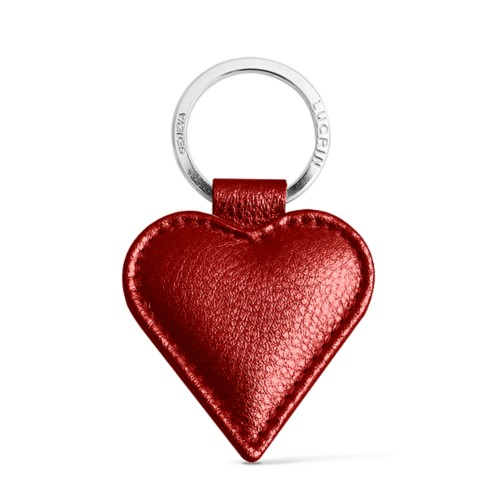 Heart-Shaped key ring - Red - Metallic Leather