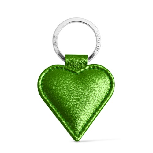 Heart-Shaped key ring - Light Green - Metallic Leather