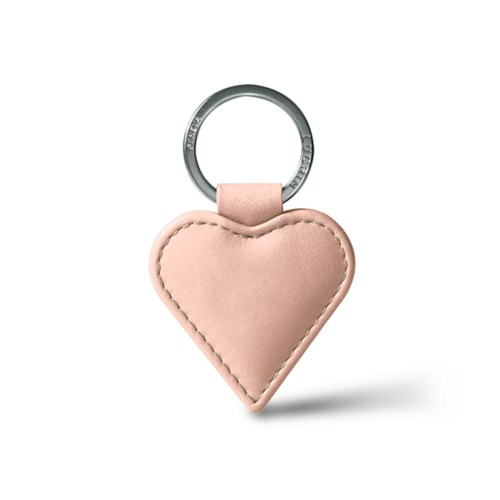 Heart-Shaped key ring - Nude - Smooth Leather