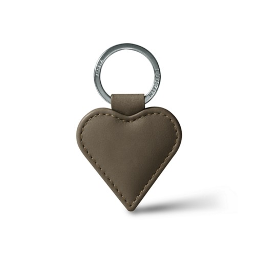 Heart-Shaped key ring - Dark Taupe - Smooth Leather