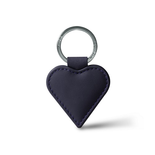 Heart-Shaped key ring - Purple - Smooth Leather
