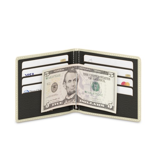 Money clip and card holder - Off-White-Mouse-Grey - Goat Leather