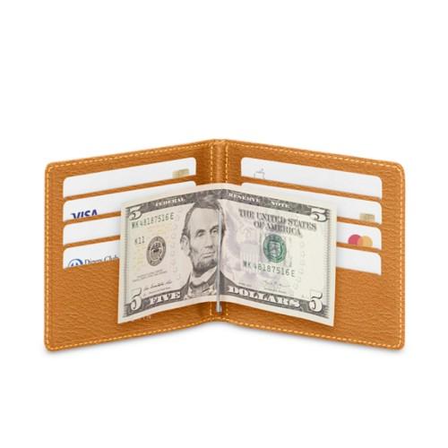 Billetera con clip para billetes - azafrán amarillo - Piel de Cabra