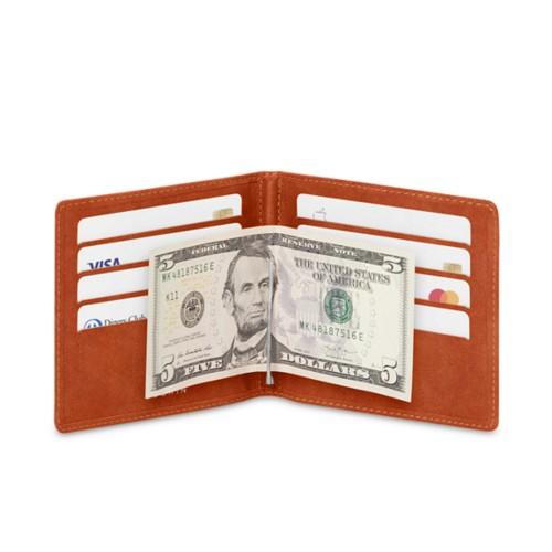 Porte-cartes et serre-billets - Cognac - Cuir végétal