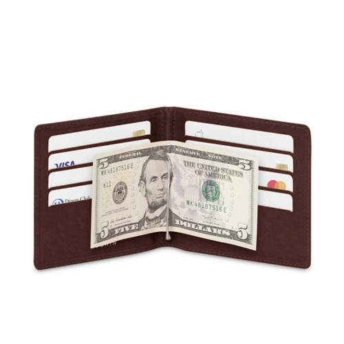 Money clip and card holder - Dark Brown - Vegetable Tanned Leather