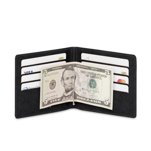 Money clip and card holder - Black - Vegetable Tanned Leather