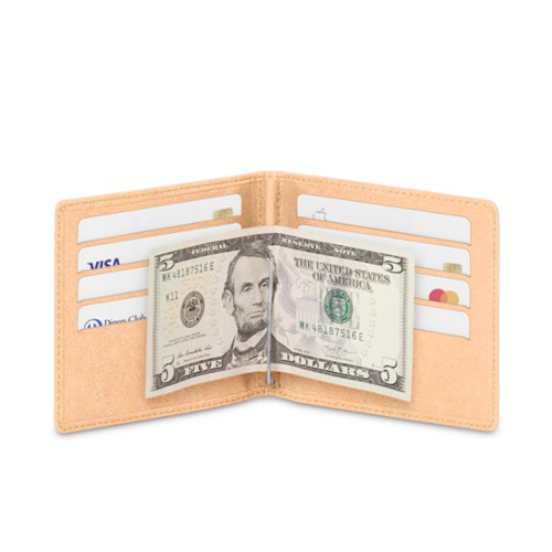 Money clip and card holder - Natural - Vegetable Tanned Leather