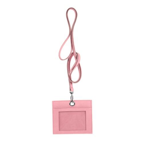 Porta badge - Rosa - Pelle Liscia