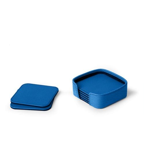 Set of 6 square coasters - Royal Blue - Goat Leather