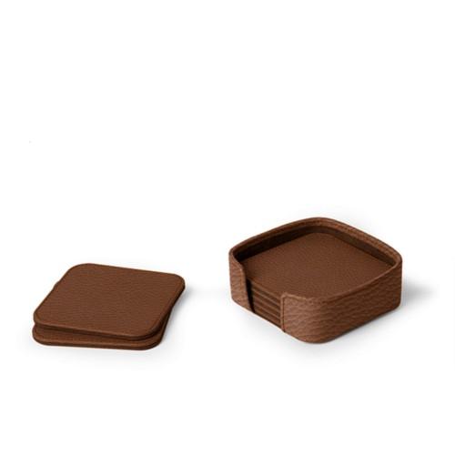 Set aus 6 quadratischen Untersetzern - Cognac - Genarbtes Leder