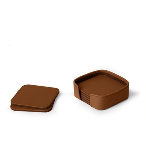Set aus 6 quadratischen Untersetzern - Cognac - Glattleder