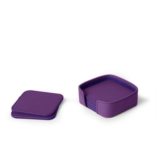 Set van 6 vierkante onderzetters - Lavendel - Soepel Leer